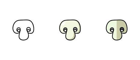 contorno e símbolos coloridos do champignon vetor