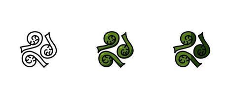 contornos e símbolos de fiddleheads coloridos vetor