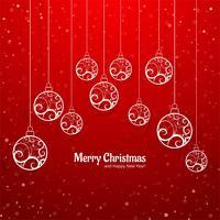 Elegante colorido feliz Natal bola cartão fundo v vetor
