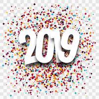 2019 feliz ano novo texto colorido fundo brilhante vetor