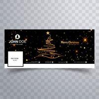 Árvore de Natal feliz com o modelo de banner do facebook vetor