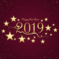 Linda feliz ano novo 2019 com celebração colorido backgrou vetor