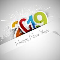 Elegante 2019 feliz ano novo design de cartão colorido vetor