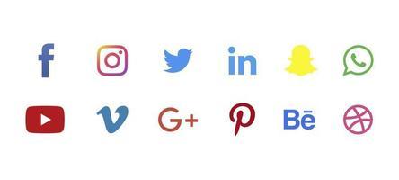ícones de mídia social agrupam facebook instagram snapchat twitter linkedin e outros botões de logotipo vetor