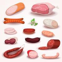 Delicatessen e conjunto de carne de açougue vetor