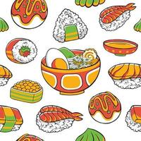 Japão padrão sem emenda de comida em estilo design plano vetor