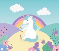 unicórnio sentado nas flores arco-íris fantasia mágica desenho bonito vetor