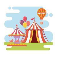 divertida feira carnaval carrossel tenda recreação balão de ar quente entretenimento vetor