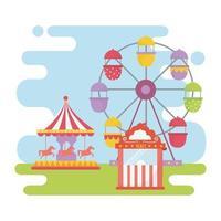 carrossel da roda-gigante carnaval feira de diversão recreação entretenimento vetor