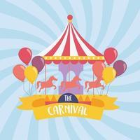 diversão com carrossel de carnaval e balões recreação entretenimento vetor