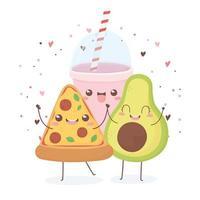 desenho de personagem de desenho animado de pizza de abacate e refrigerante kawaii vetor