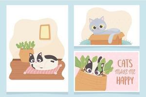gatos de estimação me fazem feliz com caixa de almofada e desenho de cesta vetor