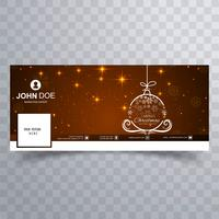 Bola de Natal feliz com o modelo de banner do facebook vetor