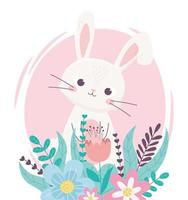 feliz páscoa adorável coelho com flores folhagem decoração floral vetor