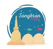 celebração do pagode de areia da tailândia no festival songkran vetor