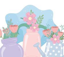 potes de pedreiro e regador com flores, folhagem, decoração da natureza vetor