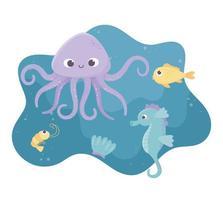 Polvo peixe-cavalo-marinho, camarão e desenho animado da vida da concha no fundo do mar vetor
