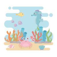 cavalos-marinhos peixes vida caranguejo algas desenho animado do recife de coral no fundo do mar vetor