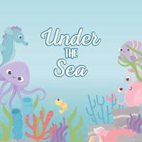 polvo cavalo-marinho caranguejo camarão vida recife de coral no fundo do mar vetor