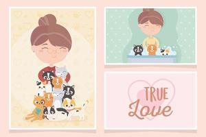 cartões de animais de estimação com abraços e gatos dando banho vetor