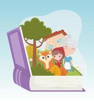 pequeno capuz de equitação vermelho vovó casa lobo livro da floresta desenho animado de conto de fadas vetor