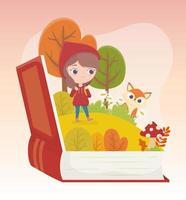Chapeuzinho vermelho lobo floresta grama livro desenho de conto de fadas vetor