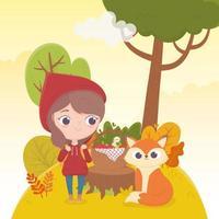 Chapeuzinho vermelho e lobo com cesta de comida floresta conto de fadas desenho animado vetor