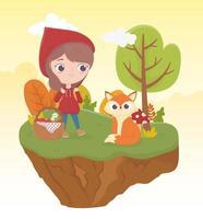 pequeno capuz de equitação vermelho lobo e bakset comida natureza conto de fadas vetor