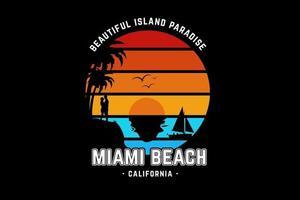 bela ilha paradisíaca miami beach califórnia cor laranja amarelo e verde vetor