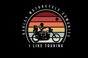 comunidade de motocicletas harley eu gosto de passear, cor laranja, amarelo e azul vetor