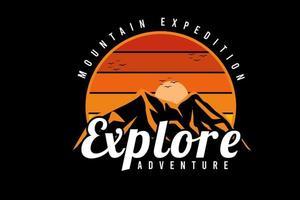expedição de montanha explorar aventura cor laranja e amarelo vetor
