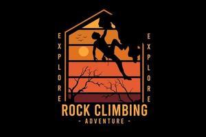 i expedição escalada aventura cor laranja e amarelo vetor