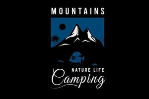 montanha natureza vida acampamento cor azul e branco vetor