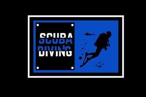 mergulho autônomo cor azul e branco vetor