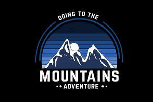 indo para as montanhas aventura cor azul vetor