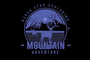 nunca pare de explorar aventura na montanha cor azul vetor