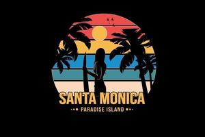 ilha paradisíaca de santa monica cor laranja amarelo e azul verde vetor