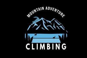 aventura na montanha escalada cor azul vetor