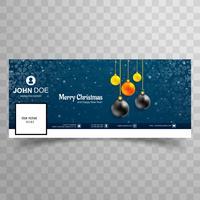 Cartão de Natal feliz com design de modelo de banner de capa de facebook vetor
