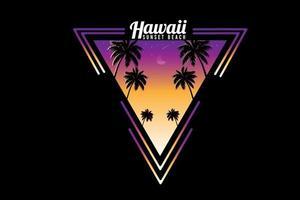 desenho à mão a cores do pôr do sol da praia no havaí vetor