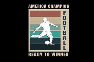 futebol campeão da América pronto para o vencedor cor laranja verde e creme vetor