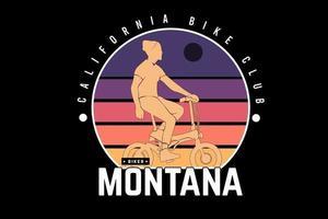 california bike club montana cor púrpura laranja e vermelho vetor