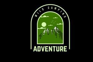 acampamento selvagem aventura cor verde vetor
