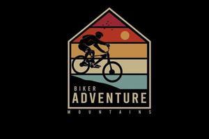 motociclista aventura montanhas cor laranja amarelo e verde vetor