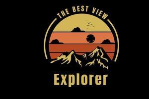 montanha a melhor vista explorador cor amarelo e laranja vetor