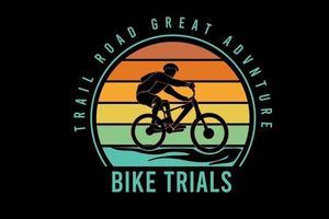 trilha estrada ótima aventura trilhas de bicicleta cor laranja amarelo e verde vetor