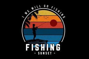 vamos pescar, pescar, pôr do sol cor de laranja amarelo e azul vetor