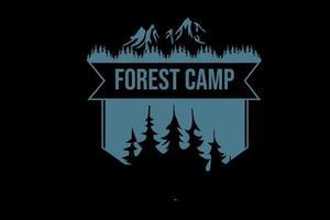 acampamento da floresta cor azul vetor