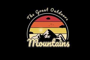 grandes montanhas ao ar livre cor de laranja e amarelo vetor