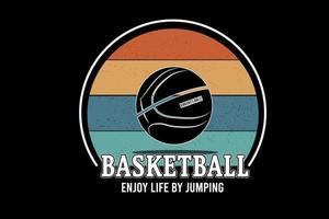 basquete aproveitar a vida pulando creme de cor vetor